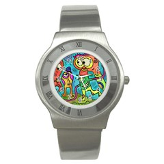 Painting Painted Ink Cartoon Stainless Steel Watch