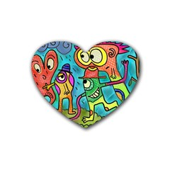 Painting Painted Ink Cartoon Rubber Coaster (heart)