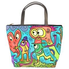 Painting Painted Ink Cartoon Bucket Bags