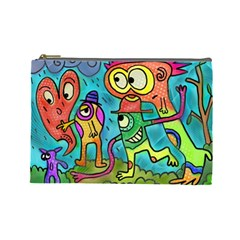 Painting Painted Ink Cartoon Cosmetic Bag (large)