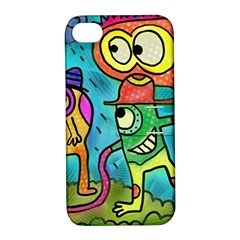Painting Painted Ink Cartoon Apple Iphone 4/4s Hardshell Case With Stand