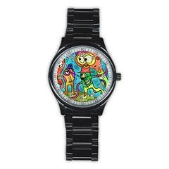 Painting Painted Ink Cartoon Stainless Steel Round Watch