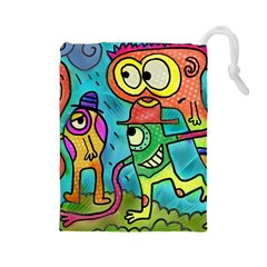 Painting Painted Ink Cartoon Drawstring Pouches (large)