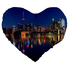 Buildings Can Cn Tower Canada Large 19  Premium Flano Heart Shape Cushions