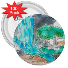 Doodle Sketch Drawing Landscape 3  Buttons (100 Pack)