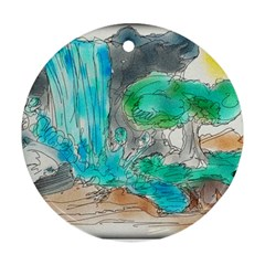 Doodle Sketch Drawing Landscape Round Ornament (two Sides)
