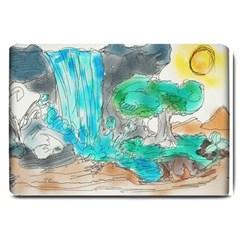 Doodle Sketch Drawing Landscape Large Doormat