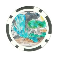 Doodle Sketch Drawing Landscape Poker Chip Card Guard