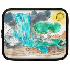 Doodle Sketch Drawing Landscape Netbook Case (xxl)