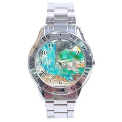 Doodle Sketch Drawing Landscape Stainless Steel Analogue Watch