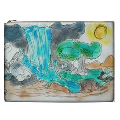 Doodle Sketch Drawing Landscape Cosmetic Bag (xxl)