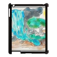 Doodle Sketch Drawing Landscape Apple Ipad 3/4 Case (black)