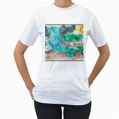 Doodle Sketch Drawing Landscape Women s T Shirt (white)