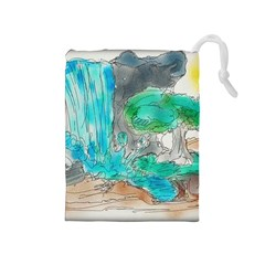 Doodle Sketch Drawing Landscape Drawstring Pouches (medium)