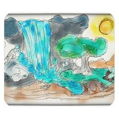 Doodle Sketch Drawing Landscape Double Sided Flano Blanket (small)