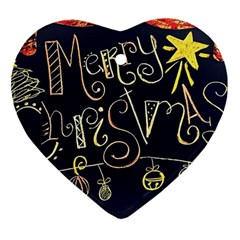 Chalk Chalkboard Board Frame Heart Ornament (two Sides)