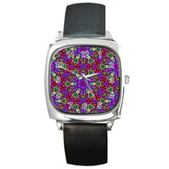 Seamless Tileable Pattern Design Square Metal Watch