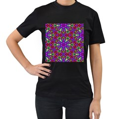 Seamless Tileable Pattern Design Women s T Shirt (black) (two Sided)