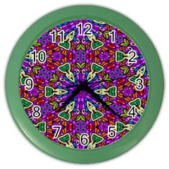 Seamless Tileable Pattern Design Color Wall Clocks