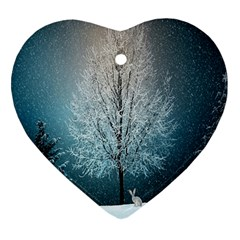Winter Wintry Snow Snow Landscape Ornament (heart)