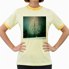 Winter Wintry Snow Snow Landscape Women s Fitted Ringer T Shirts