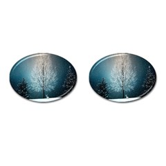 Winter Wintry Snow Snow Landscape Cufflinks (oval)