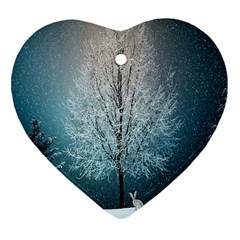 Winter Wintry Snow Snow Landscape Heart Ornament (two Sides)