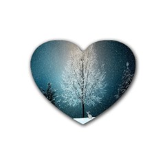 Winter Wintry Snow Snow Landscape Heart Coaster (4 Pack)