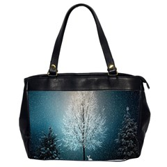 Winter Wintry Snow Snow Landscape Office Handbags (2 Sides)