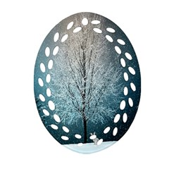 Winter Wintry Snow Snow Landscape Oval Filigree Ornament (two Sides)
