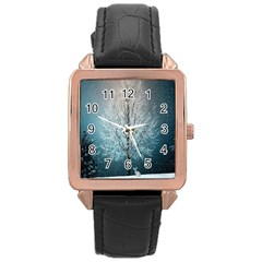 Winter Wintry Snow Snow Landscape Rose Gold Leather Watch