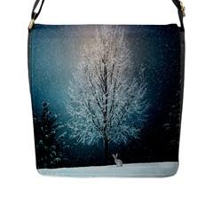 Winter Wintry Snow Snow Landscape Flap Messenger Bag (l)