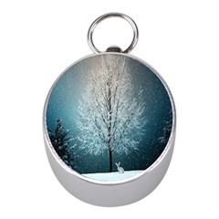 Winter Wintry Snow Snow Landscape Mini Silver Compasses