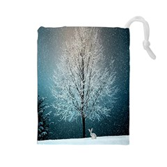 Winter Wintry Snow Snow Landscape Drawstring Pouches (large)