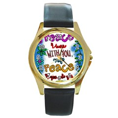 Christian Christianity Religion Round Gold Metal Watch