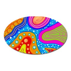 Abstract Pattern Painting Shapes Oval Magnet