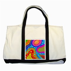 Abstract Pattern Painting Shapes Two Tone Tote Bag