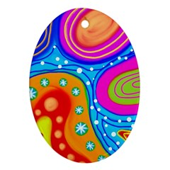 Abstract Pattern Painting Shapes Oval Ornament (two Sides)
