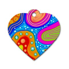 Abstract Pattern Painting Shapes Dog Tag Heart (two Sides)
