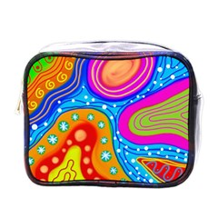 Abstract Pattern Painting Shapes Mini Toiletries Bags