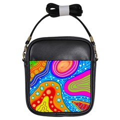 Abstract Pattern Painting Shapes Girls Sling Bags