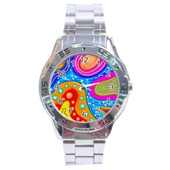 Abstract Pattern Painting Shapes Stainless Steel Analogue Watch
