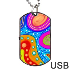 Abstract Pattern Painting Shapes Dog Tag Usb Flash (one Side)