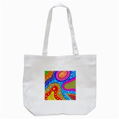 Abstract Pattern Painting Shapes Tote Bag (white)