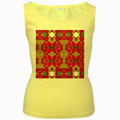 Abstract Background Pattern Doodle Women s Yellow Tank Top