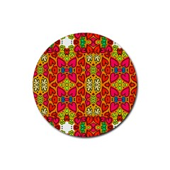 Abstract Background Pattern Doodle Rubber Round Coaster (4 Pack)