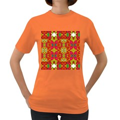 Abstract Background Pattern Doodle Women s Dark T Shirt