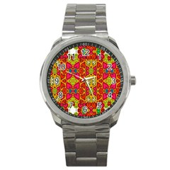 Abstract Background Pattern Doodle Sport Metal Watch