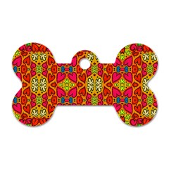 Abstract Background Pattern Doodle Dog Tag Bone (two Sides)