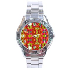 Abstract Background Pattern Doodle Stainless Steel Analogue Watch